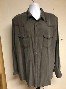 Ryan Michael XL Snap on Buttons 53% Silk 47% Cotton Long Sleeve Mens Shirt