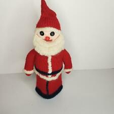 Vintage Hand Crafted Christmas Knit Santa Wine Alcohol Bottle Cover Handmade