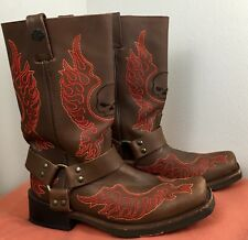 HARLEY DAVIDSON Men's Brown Leather Boots Size 9D Slayton Style D93142