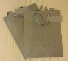New Lot of 2 Sparkling Silver Special Occasion Paper Gift Bags