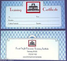 BLANK Front Sight Training Certificate for Gift Presentation