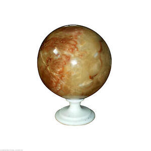 Ball IN Onyx Naranja with Base White White Marble Sphere Classic Design