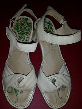 "Groundhog Leather Sandals Groundhog Cream Ankle-Strap 2.5"" Wedge US 10 EU 40"