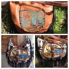 Southwestern Double J handbag FRINGE leather Tapestry hand painted gringo look