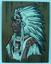 1976 PAINT BY NUMBERS AMERICAN INDIAN CHIEF ORIGINAL HAND PAINTED FOLK ART