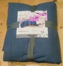 Threshold Linen Cotton Blend Diamond Stitch Quilt ~ Full / Queen ~ Blue