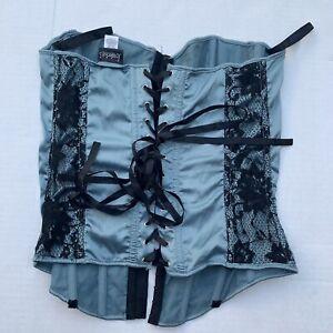 Fredericks of Hollywood Blue / Teal & Black Corset Size 36 Lingerie