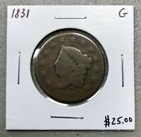 1831 MATRON HEAD or CORONET HEAD LARGE CENT ~ GOOD CONDITION! C757