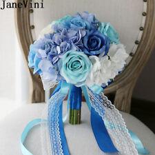 Blue White Bridal Bouquet For Beach Wedding Flowers Artificial Bride Bouquets