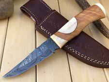 "UNTEX Custom Handmade Damascus 9"" Long Full Tang Olive Bush Craft Hunting Knife"