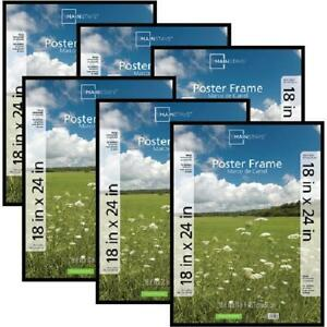 Basic Black Poster & Picture Frame, Set of 6, 18x24, Horizontal or Vertical