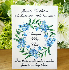 12 Personalised Forget-Me-Not Seed Funeral Memorial In Memory Remembrance Favour