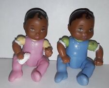 Fisher Price Loving Family Dollhouse African American Twins Babies dolls Figures
