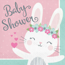 BABY SHOWER Floral Bunny LUNCH NAPKINS (16) ~ Party Supplies Serviettes Dinner