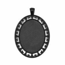 Oval black cabochon pendant setting size ifts 40x30mm glass pendant