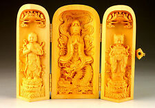 Details about Vintage Excellent Handmade Exquisite Boxwood Buddha Statue Box