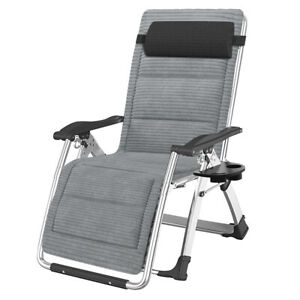 Metal Folding Chair Recliner Folding Portable Lounge Chaise With Soft Cushion