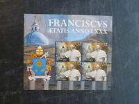 2016 VATICAN CITY 80th ANNIV OF THE BIRTH OF POPE FRANCIS 4 STAMP MINI SHEET MNH