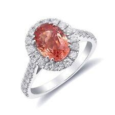 Natural Padparadscha Sapphire 2.03 carats in 14K White Gold Ring w Diamonds