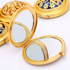 Newest Vintage Gold Metal Pocket Mirror Compact Cosmetic Portable Makeup Tool