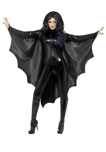 VAMPIRE BAT WINGS ADULT LADIES WOMENS COSTUME ACCESSORY CAPE BLACK DEVIL DEMON