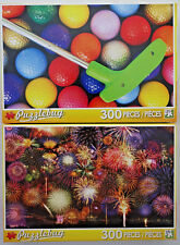 jigsaw puzzle lot of 2 Puzzlebug 300 pc Golf Balls Putter & Fireworks Symphony