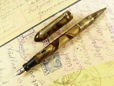 Brown Marble Locktite Fountain Pen Pencil Combo - restored
