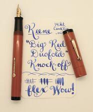 "FLEX Vintage Keene Fountain Pen EF - BBB+ (3mm) #5gold nib - ""Big Red"" RESTORED"
