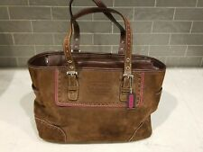 Coach Suede Leather Gallery Tote Bag Purse  Brown & Pink No. 6040-1430 CPBS