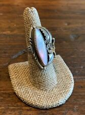 Vintage Navajo Sterling Silver w/ Pink Mother of Pearl Ring Size 7.5 Signed Y