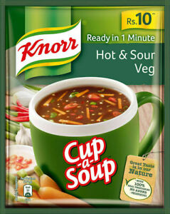 11 Gm Knorr Cup A Soup Hot & Sour Veg Ready in one Minute - Free Shipping
