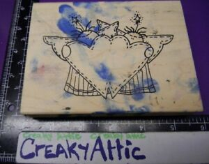ANGELS DOUBLE HEART STITCHED RUBBER STAMP INKY ANTICS
