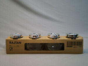 IKEA RAJTAN 5 oz NEW IN BOX Clear Glass Spice Jars With Silver Lids Set of 4
