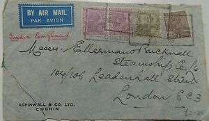 4 1 Anna 3 Pies India Stamps Air Mail Ellerman Lines Steamship co London Seal