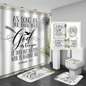 ROMANS 8:31 Shower Curtain Bath Mat Toilet Cover Rug Home Bathroom Decor