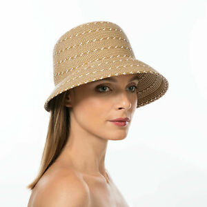 Authentic NWT Eric Javits Designer NYC Women's Hat - Kimi in Natural Mix