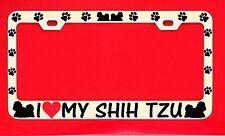 I Love My Shih Tzu /s Chrome License Plate Frame Tag Dog Paw Weatherproof Vinyl