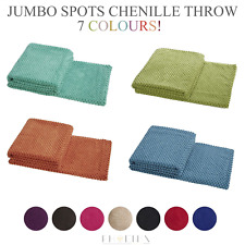 Luxury Quality Soft Jumbo Chenille Spots Blanket Sofa Bed Throw Over Coverlet