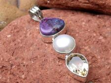 HANDCRAFTED 925 SILVER PURPLE COPPER TURQUOISE-PEARL-CITRINE PENDANT