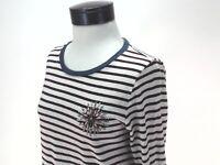 JCREW Burgundy Striped Painter Tee Jeweled Brooch Embellished T-Shirt 08892 sz M