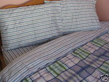 Kids Cotton Twin Size Bedding Set Navy Blue Plaids Green Stripe Floral