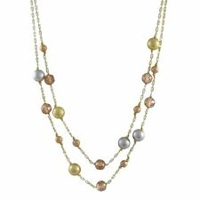 Tri Color Gold Finish Sterling Silver Champagne CZ Two Row Necklace