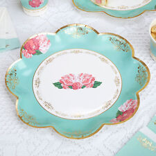 8 x Vintage Style Tea Party Paper Plates Shabby Chic Rose Buffet Wedding Plate