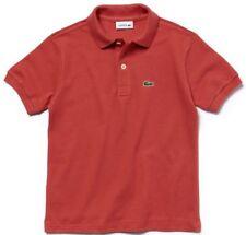 LACOSTE Boys Polo Shirt Short Sleeved 100% Cotton Pique Salmon Pink REDUCED !!
