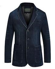 Men's Casual Notched Collar 3 Button Slim Twill Blazer Jacket Dark Blue L