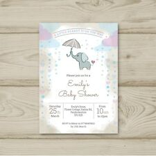 Elephant Unisex Girl Boy Pink Blue Neutral Baby Shower Invitations Personalised