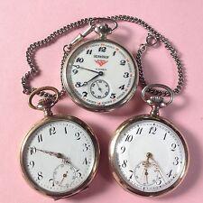 3x Herren Taschenuhr 2x Silber+Serkisof Russland Türkei Handaufzug kl. Sek.~1900