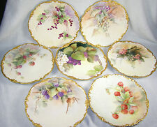 (7) Jean Pouyat Limoges Hand Painted Plates - Fruit - C1907