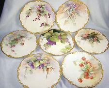 (7) Jean Pouyat Limoges Hand Painted Plates - Fruit - C1907