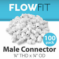 "Male Connector 1/4"" Quick Connect Parts for Water Filters / RO Systems - 100 PK"